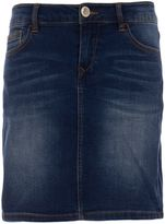 Morgan Cotton Denim Faded-Detail Skirt