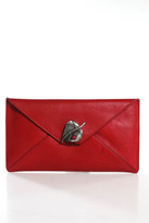 Corto Moltedo Red Leather Leaf Envelope Clutch Handbag