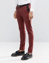 Asos Super Skinny Tuxedo Suit Pants In Dark Red