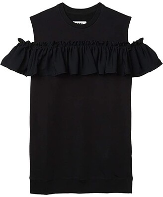 MM6 MAISON MARGIELA Ruched Drop Detail Cold-Shoulder Short Dress (Black) Women's Clothing