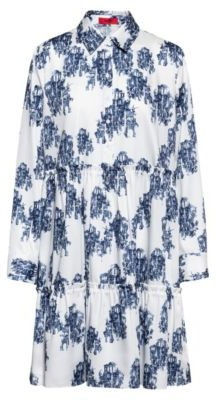 HUGO BOSS Tunic-style tiered dress with collection-themed toile print