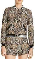 Maje Baslira Tapestry-Inspired Jacquard Bomber Jacket