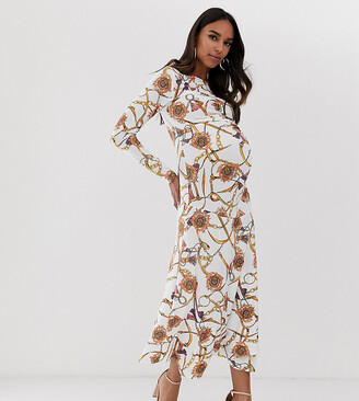 Queen Bee Maternity long sleeve ruched midaxi dress in white vintage chain print