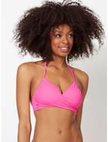 George Neon Pink Wrap Front Bikini Top