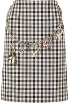 Balenciaga Embellished Gingham Wool-blend Crepe Skirt - Gray