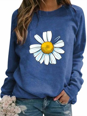 Dresswel Women Daisy Sweatshirt Crew Neck Long Sleeve Tops Pullover Floral Jumper Blouse Shirt Blue