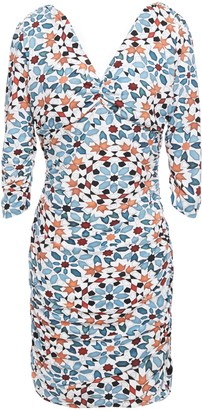 Roberto Cavalli Ruched Printed Stretch-jersey Mini Dress