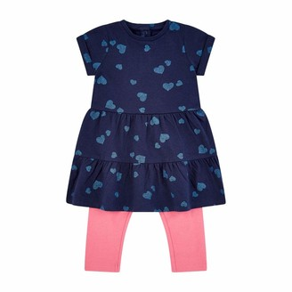Mothercare Baby Girls' Flow MC61 Navy AOP Dress W/Legging Set Clothing