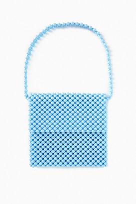 Faithfull Pale Blue Beaded Clutch Bag