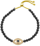 Giani Bernini Cubic Zirconia and Black Agate Semi-Precious (14-1/4 ct. t.w.) Evil-Eye Slider Bracelet in 18k Gold-Plated Sterling Silver, Only at Macy's