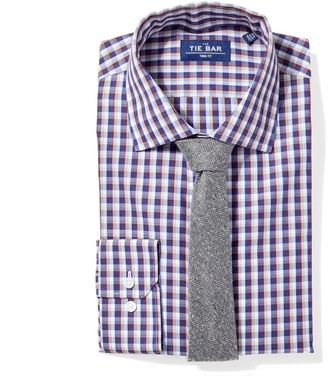 The Tie Bar Navy Faded Gingham Non-Iron Shirt