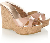 Jimmy Choo Perfume patent-leather wedge mules
