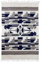Geometric Wool Area Rug Champagne Dark Taupe (4x6) Guatemala, 'Cardinal Directions'