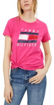 Tommy Hilfiger Logo Knot-Front T-Shirt