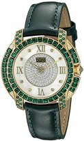 Burgi Women's BUR156GN Yellow Gold Quartz Watch With Diamond Mother of Pearl Swarovski Crystal Accented Dial & Bezel With Green Leather Strap