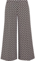 MICHAEL Michael Kors Cropped Printed Stretch-crepe Culottes - Black