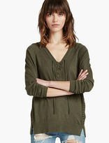 Lucky Brand Raglan Lace Up Sweater