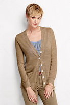 Lands' End Women's Petite Merino V-neck Cardigan Sweater-French Pecan Heather