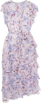 Zimmermann Corsage Flutter Tiered Floral-print Silk-chiffon Midi Dress