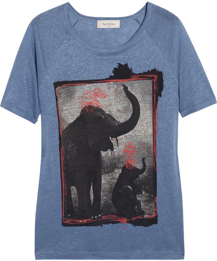 Paul & Joe Terifian elephant-print linen T-shirt