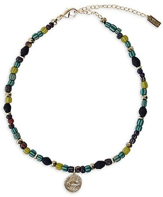 Akola Adwoa Raffia & Glass Beaded Collar Necklace With Coin Charm