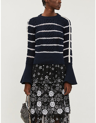 Self-Portrait Fluted-sleeve striped cotton-knit jumper