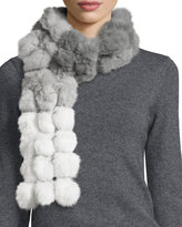 Adrienne Landau Ombre Rabbit Fur Pompom Scarf, Gray