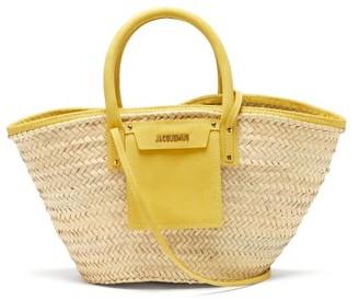 Jacquemus Soleil Nubuck And Raffia Basket Bag - Womens - Yellow