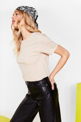 Nasty Gal Womens Get Back to Basics Crew Neck Fitted Tee - Natural