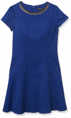 Ellen Tracy Women's Petite Short Sleeve Fit and Flare Dress with Neckline Embelishment