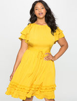 ELOQUII Plus Size Ruffles and Pintucks Fit and Flare Dress
