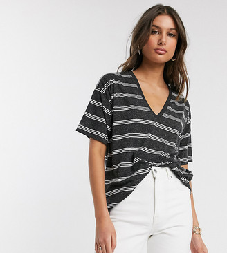 Asos Tall ASOS DESIGN Tall t-shirt with v-neck in linen mix in charcoal with stripe
