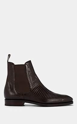 Carmina Shoemaker Men's Lizard-Stamped Leather Chelsea Boots - Dk. brown