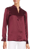 Lafayette 148 New York Diane French-Cuffed Silk Blouse