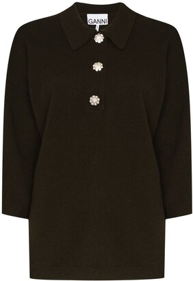 Ganni Crystal-Button Cashmere Polo Top