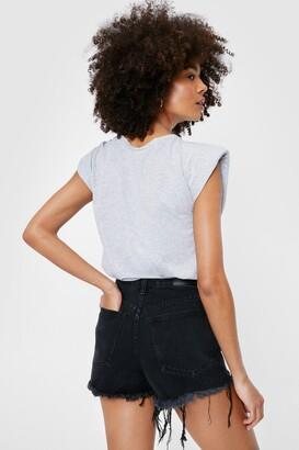 Nasty Gal Womens Cut 'Em Off Denim Shorts - Black - 14, Black