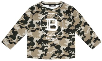 Balmain Kids Logo camouflage cotton sweatshirt