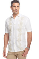 Tasso Elba Island Linen Palm Printed Pintucked Shirt, Only at Macy's
