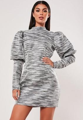 Missguided Metallic Jacquard Puff Sleeve Mini Dress