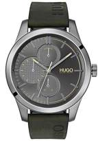 HUGO Hugo Discover Grey Multi Dial Green Logo Embossed Leather Strap Mens Watch