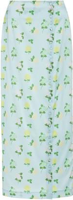 Bernadette Antwerp Kelly Button-Trim Satin Maxi Skirt