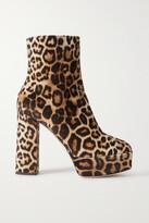 Thumbnail for your product : Giuseppe Zanotti Leopard-print Velvet Platform Ankle Boots
