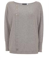 Mint Velvet Asymmetric Button Knit Cardigan, Light Grey