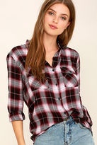 BB Dakota Ebson Burgundy Plaid Button-Up Top