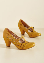 Opting for Intrigue T-Strap Heel in Mustard in 36