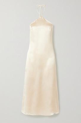 Reformation + Net Sustain Reggie Silk-satin Halterneck Midi Dress - Ivory
