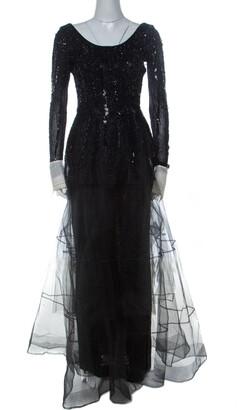 Christian Dior Vintage Black Embellished Tulle Contrast Cuff Detail Scoop Back Gown M