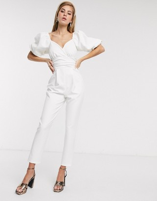 ASOS DESIGN puff sleeve jumpsuit with lace up back detail in white