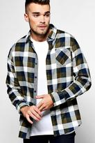 Boohoo Long Sleeve Brush Check Shirt