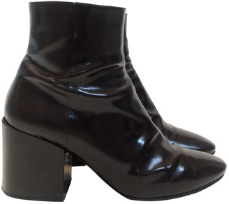 Dries Van Noten Burgundy Patent leather Ankle boots